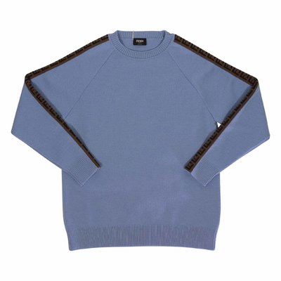 FENDI light blue wool knit jumper with zucca print details