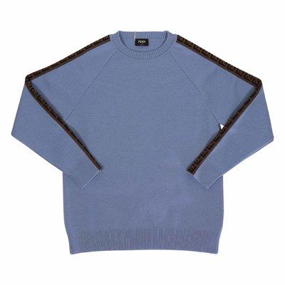 FENDI pullover azzurro in maglia di lana con dettagli zucca print
