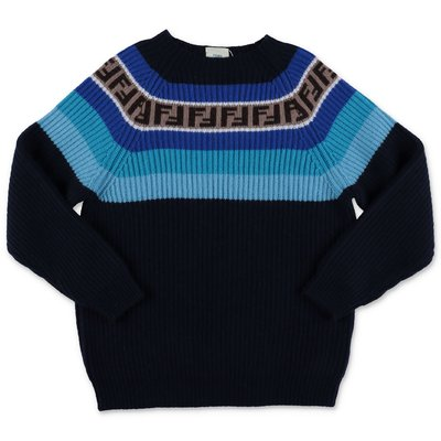 FENDI navy blue virgin wool blend knit jumper