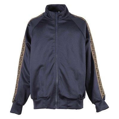 blue boy acetate jacquard logo detail bands sweatshirt
