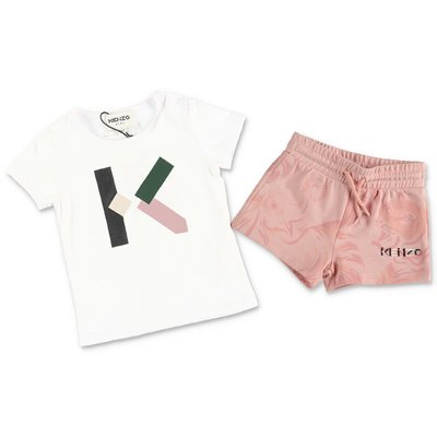 KENZO cotton outfit with white t-shirt & pink shorts