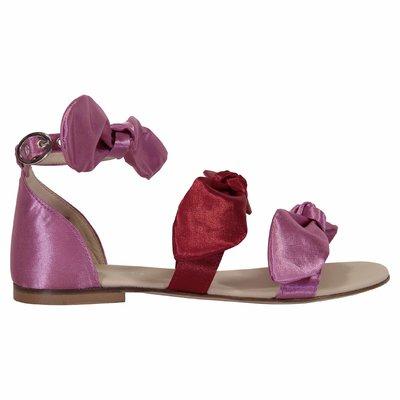 Sandali rosa in pelle con fiocchi