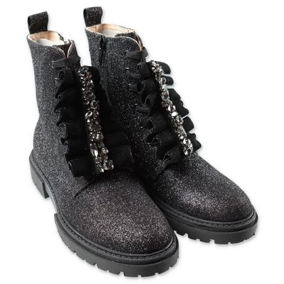 Florens black glittery boots with decorative buckle
