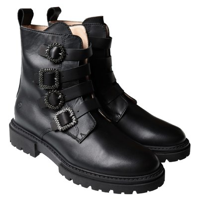 Florens black leather combat boots