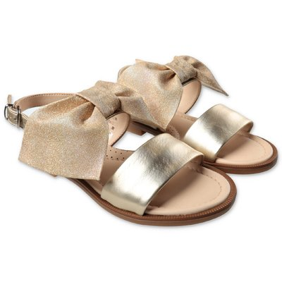 Florens gold leather sandals with bow