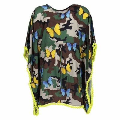 Camouflage print viscose cover-up