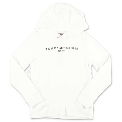 Tommy Hilfiger white logo detail cotton hoodie