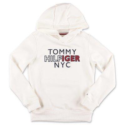 Tommy Hilfiger felpa bianca in cotone con cappuccio