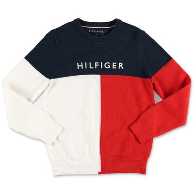 Tommy Hilfiger color block cotton knit jumper