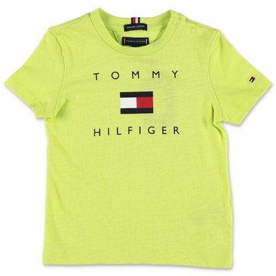 Tommy Hilfiger t-shirt verde acido in jersey di cotone