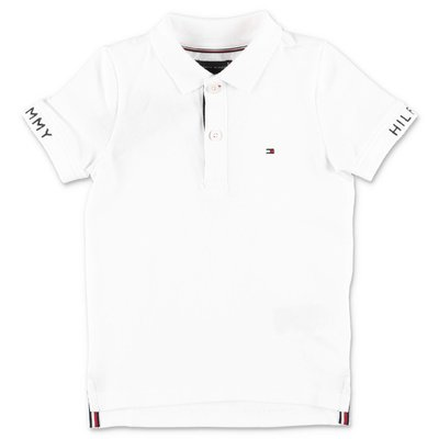 Tommy Hilfiger polo bianca in piquet di cotone