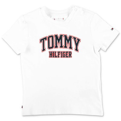 Tommy Hilfiger t-shirt bianca in jersey di cotone