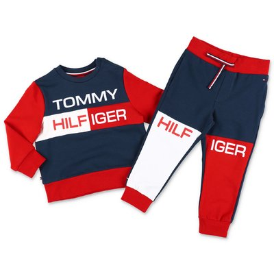 Tommy Hilfiger color block cotton set with sweatshirt & pants