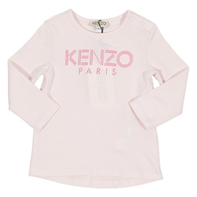 Pale pink logo detail cotton jersey t-shirt
