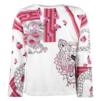 White Tiger and Dragon girl cotton jersey T-shirt