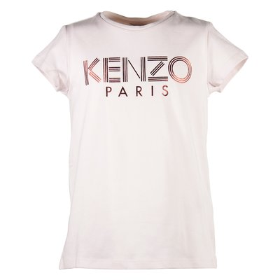 pink girl cotton jersey t-shirt with logo detail