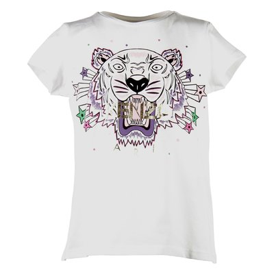 white cotton jersey girl Tiger print t-shirt
