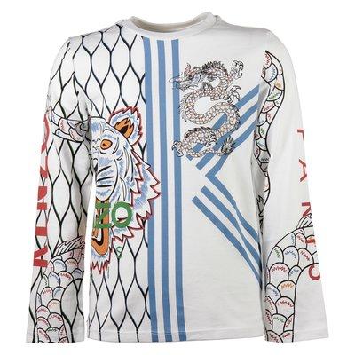 T-shirt bianca con stampa Tigre e Dragone in jersey di cotone