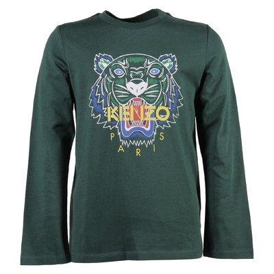 green cotton jersey tiger print t-shirt