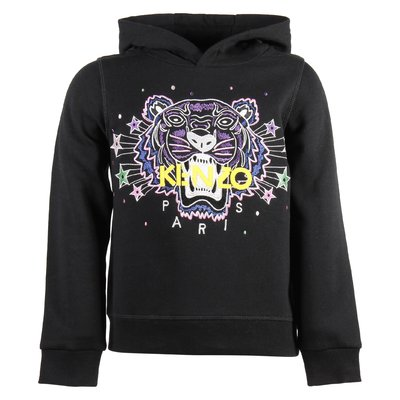 black cotton girl Tiger hooded sweatshirt