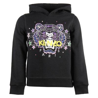 black cotton girl Tiger hooded sweatshirt