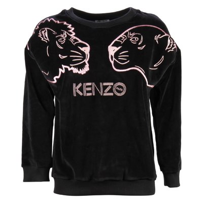 black chenille girl Tiger embroided sweatshirt