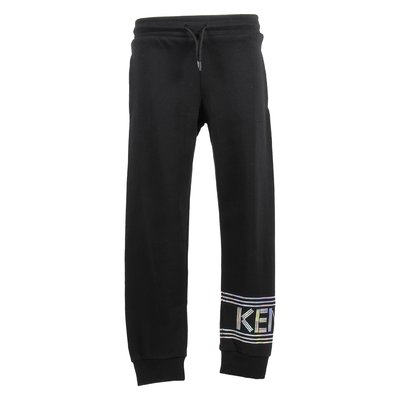 black cotton boy sweatshirt jogging pants with logo details