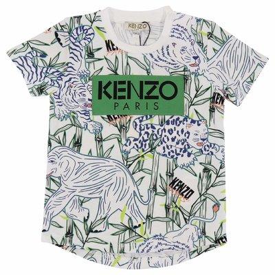 T-shirt tema jungle in jersey di cotone con dettaglio logo