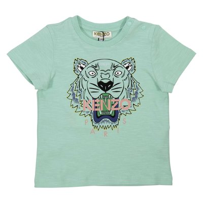 Mint green cotton jersey Tiger t-shirt