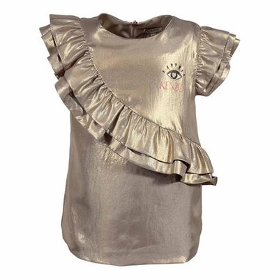Blusa color oro in techno tessuto con ruches