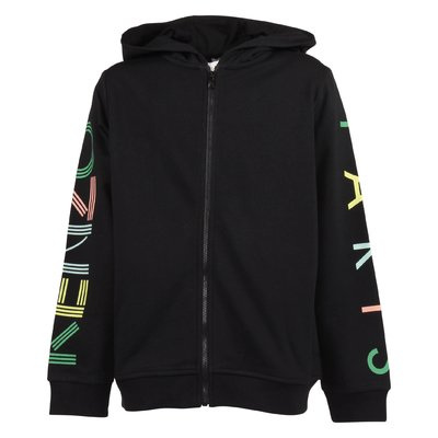 Black cotton zip-up hoodie