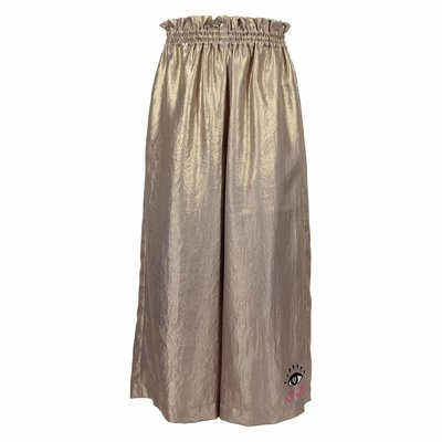Golden techno fabric wide pants