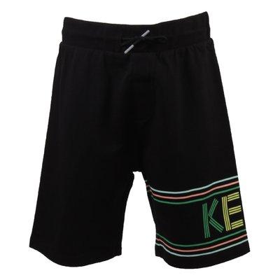 Shorts neri in felpa di cotone con dettaglio logo