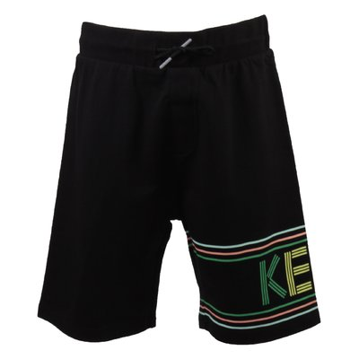 Black logo detail cotton sweat shorts