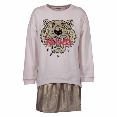 Powder pink Tiger cotton sweatshirt dress