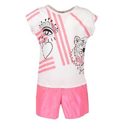 Tuta bianca e rosa Tiger in jersey e techno tessuto