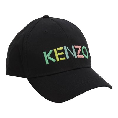 KENZO black logo detail cotton canvas baseball cap