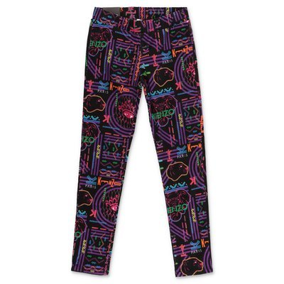 KENZO black printed cotton super skinny pants