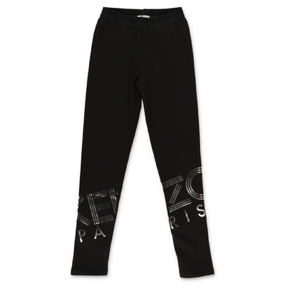 KENZO leggings neri in felpa di misto cotone stretch