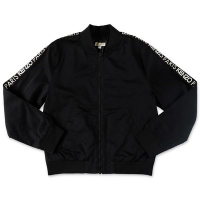 KENZO black logo detail cotton gabardine jacket