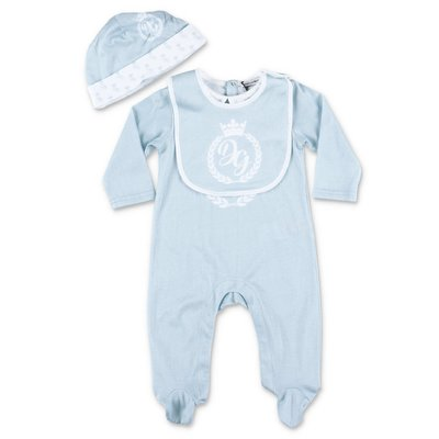 Dolce & Gabbana light blue cotton jersey romper, bib & hat set