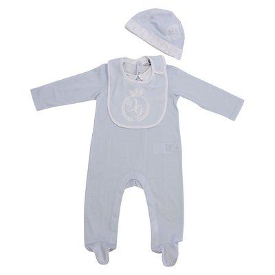 Set regalo con tutina, cappello e bavetta in jersey di cotone colore celeste