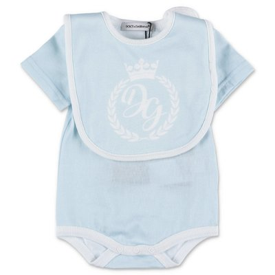 Dolce & Gabbana light blue cotton jersey onesie and bib set