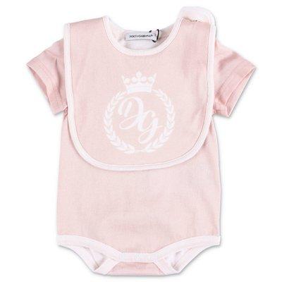 Dolce & Gabbana set da due pezzi colore rosa con body e bavetta in jersey di cotone