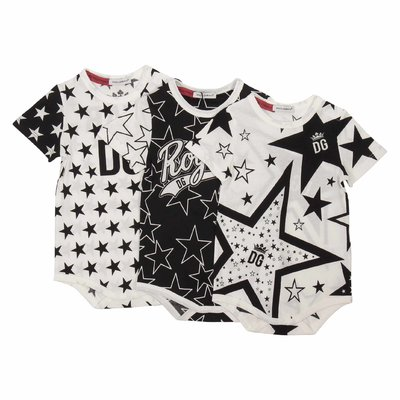 Black and white cotton jersey DG Millennials three bodies set