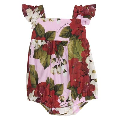 Blooming motif cotton poplin bodysuit