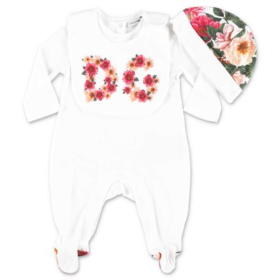 Dolce & Gabbana set da tre pezzi in jersey di cotone bianco con tutina, cappello e bavetta