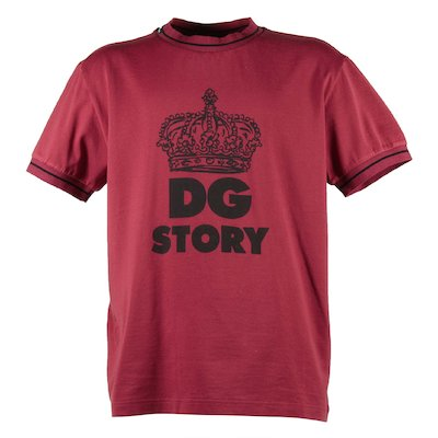 T-shirt rossa in jersey di cotone con crown logo DG Story