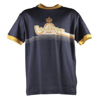 T-shirt blu scuro in jersey di cotone con logo