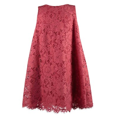 Red cordonetto lace dress